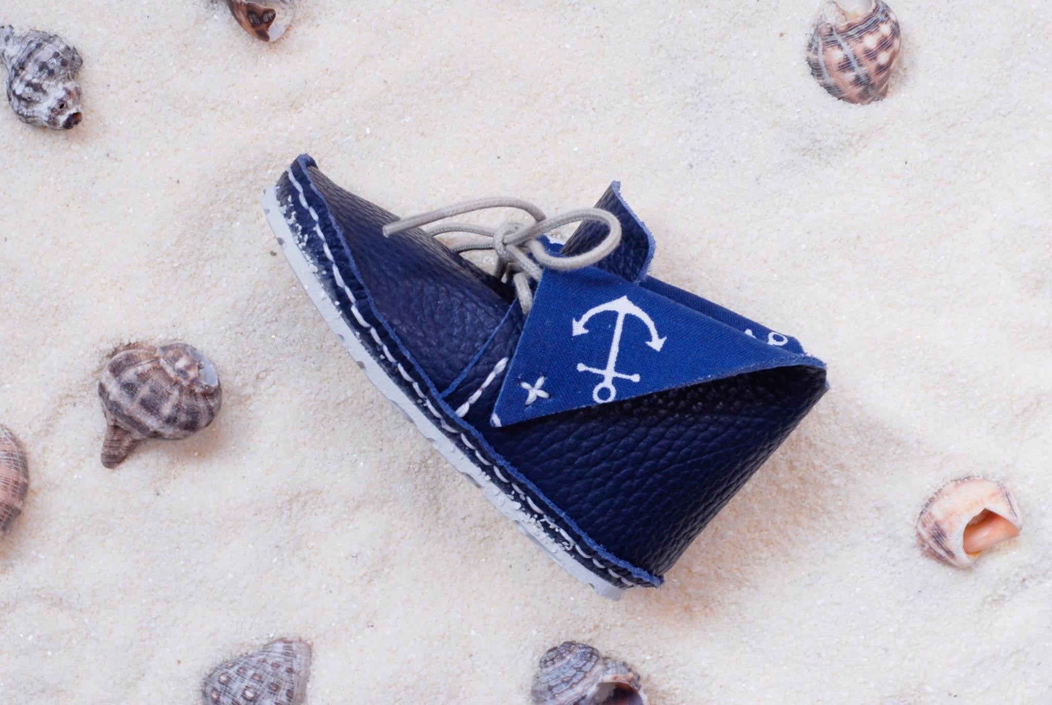 "First Baby Shoes RADO model - Navy/Blue ""Made in Poland""-Baby Shoes-Navy Selected Shop"