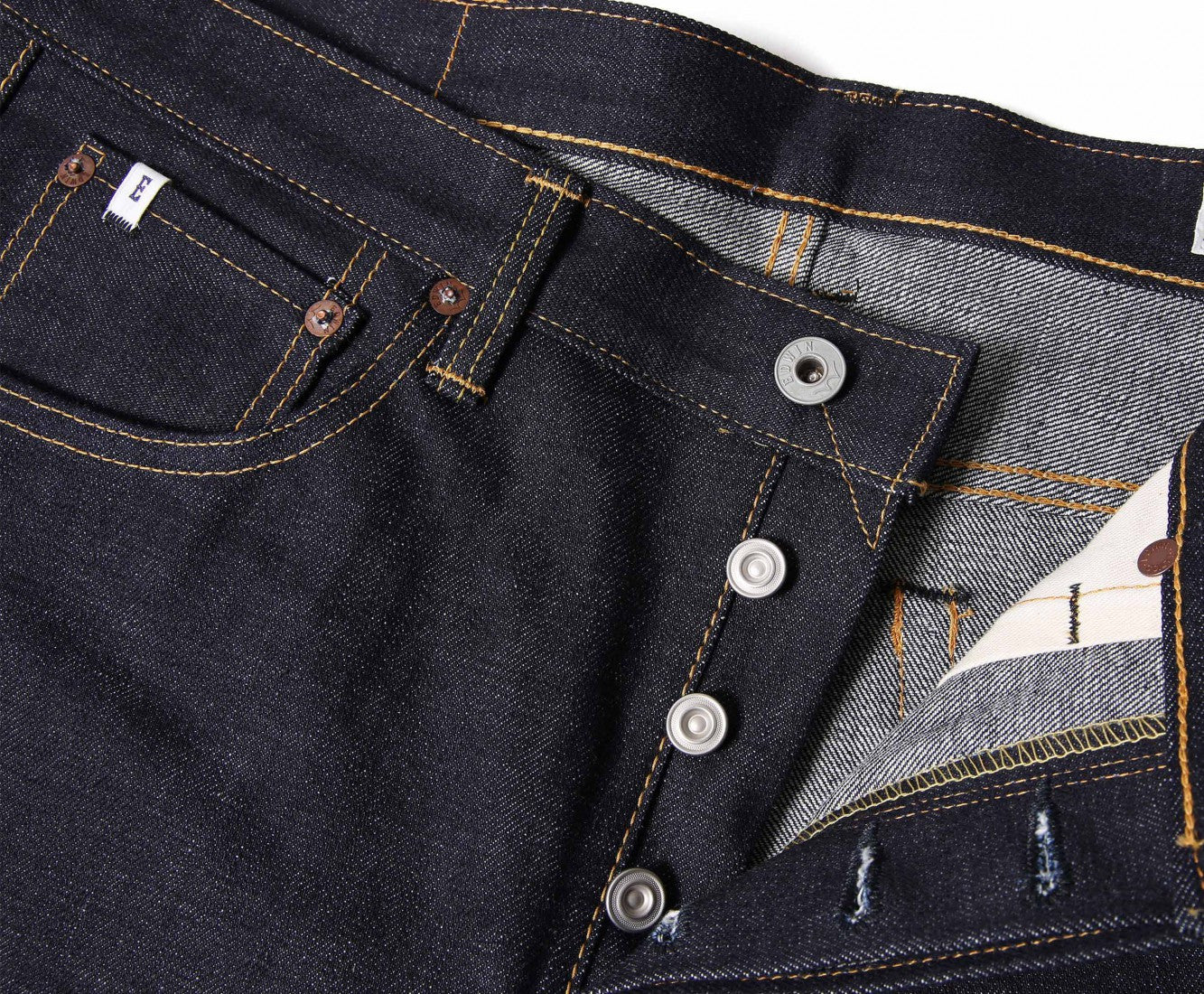 "Edwin Europe Classic Regular Straight Jeans ""Rainbow Selvage Japan Denim"" - Raw State-Denim-Navy Selected Shop"