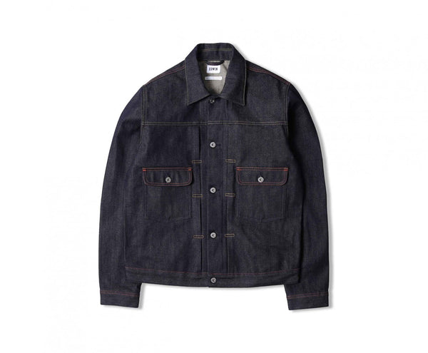 "Edwin Europe E-Classic Jacket ""63 Rainbow Selvage Denim"" - Unwashed-Denim-Navy Selected Shop"