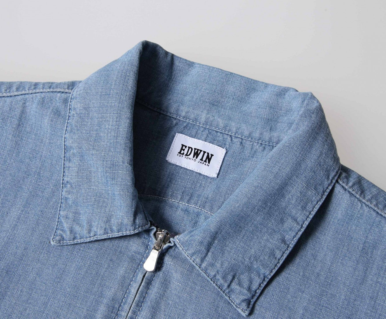 Edwin Europe Demo Zip Shirt - Stone Bleached-Denim-Navy Selected Shop