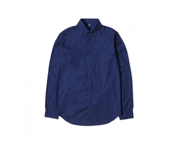 "Edwin Europe Standard Shirt ""Indigo Dobby Cotton"" - Dark Indigo-Denim-Navy Selected Shop"