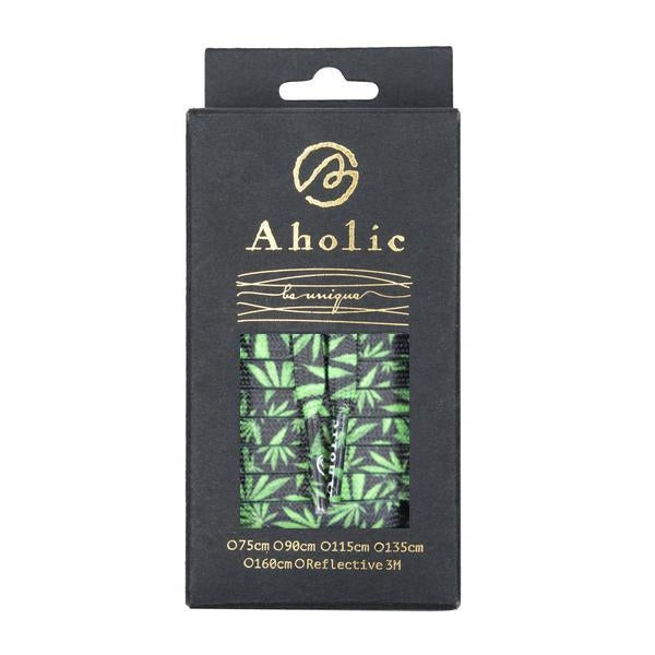 Aholic Hemp Pattern Shoelaces (大麻葉鞋帶) - Black/Green (黑綠)-Shoelaces-Navy Selected Shop
