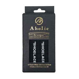 "Aholic ""Shoelaces"" Wording Flat Shoelaces (文字偏鞋帶) - Black (黑)-Shoelaces-Navy Selected Shop"