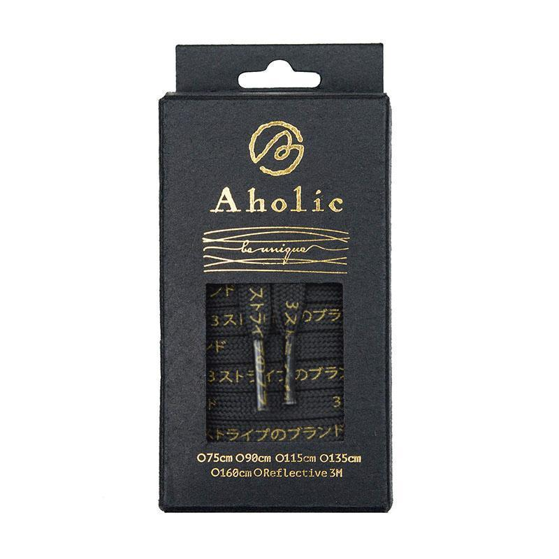 Aholic Japanese Word Shoelaces (三葉日字鞋帶) - Black/Gold (黑金)-Shoelaces-Navy Selected Shop