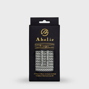 Aholic 3m Reflective Round Shoelaces (3M反光圓鞋帶) - Grey Chidori (灰千鳥)-Shoelaces-Navy Selected Shop
