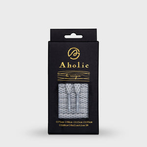 Aholic 3m Reflective Flat Shoelaces (3M反光扁鞋帶) - Grey Chidori (迷蹤灰千鳥)-Shoelaces-Navy Selected Shop