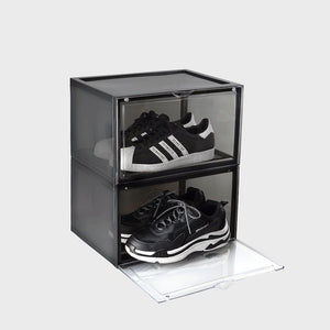 Aholic Magnetic Side Open Storage Shoe Box (側開式磁石波鞋收納盒) - Transparent Black (透明黑)-磁石鞋盒-Navy Selected Shop