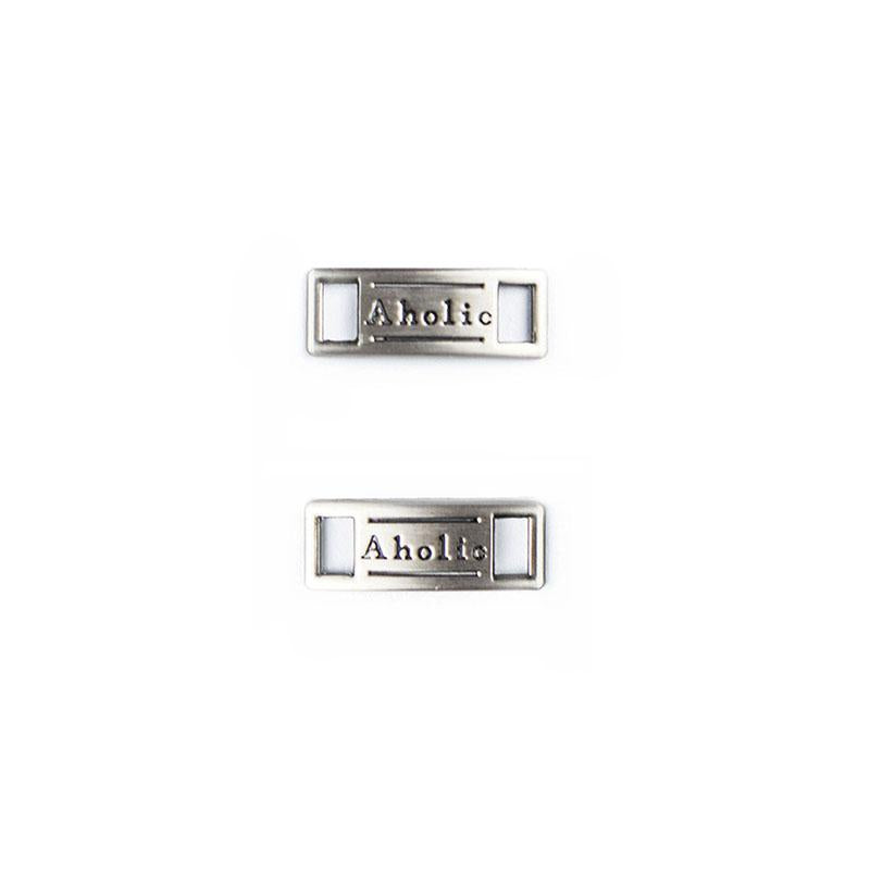 Aholic Logo Plate (經典鐵牌) - Gunmetal (槍)-Shoelaces-Navy Selected Shop