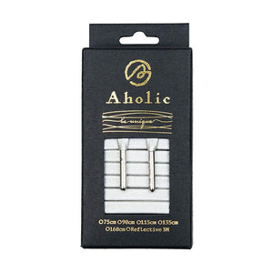 Aholic Venus Leather Shoelaces with Metal Tips (奢華皮革鞋帶) - Elegant Silver (優雅銀)-Shoelaces-Navy Selected Shop