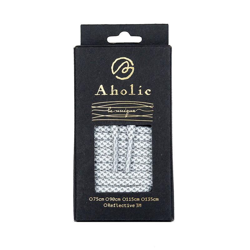 Aholic 3m Reflective Round Shoelaces (3M反光圓鞋帶) - White Chidori (白千鳥)-Shoelaces-Navy Selected Shop