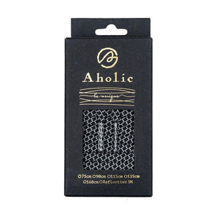 Aholic 3m Reflective Flat Shoelaces (3M反光扁鞋帶) - Black Serpentine (黑蛇紋)-Shoelaces-Navy Selected Shop