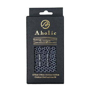 Aholic 3m Reflective Flat Shoelaces (3M反光扁鞋帶) - Navy Serpentine (海軍藍蛇紋)-Shoelaces-Navy Selected Shop