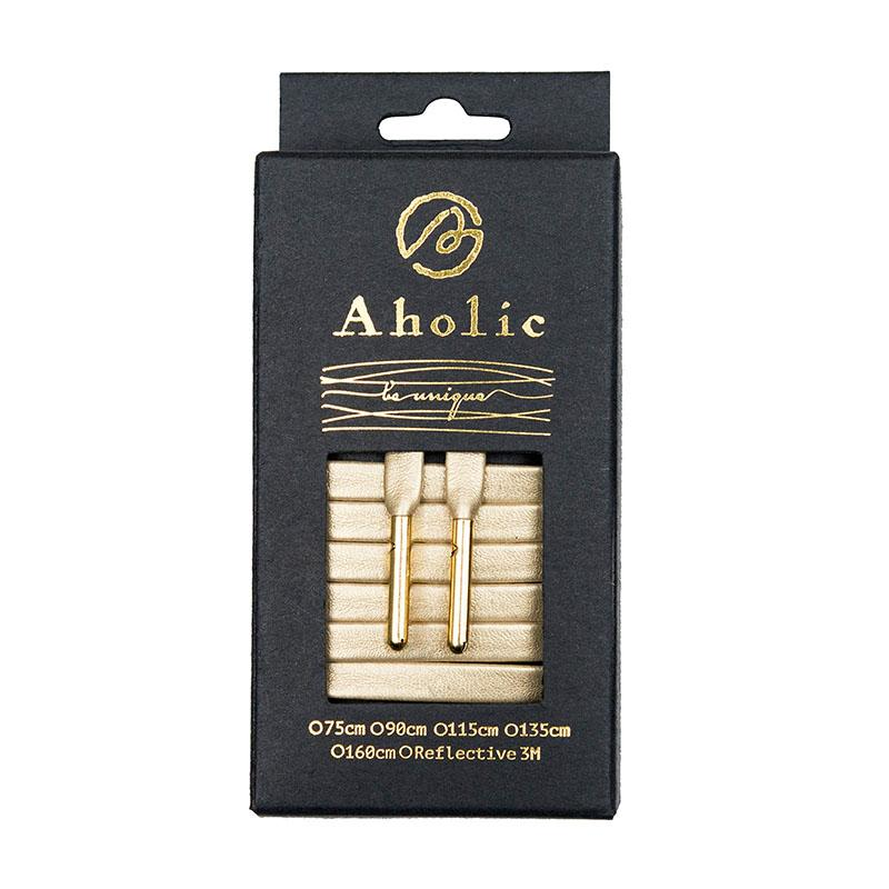 Aholic Venus Leather Shoelaces with Metal Tips (奢華皮革鞋帶) - Luxury Gold (奢華金)-Shoelaces-Navy Selected Shop