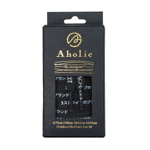 Aholic Japanese Word Shoelaces (三葉日字鞋帶) - Black/White (黑白)-Shoelaces-Navy Selected Shop
