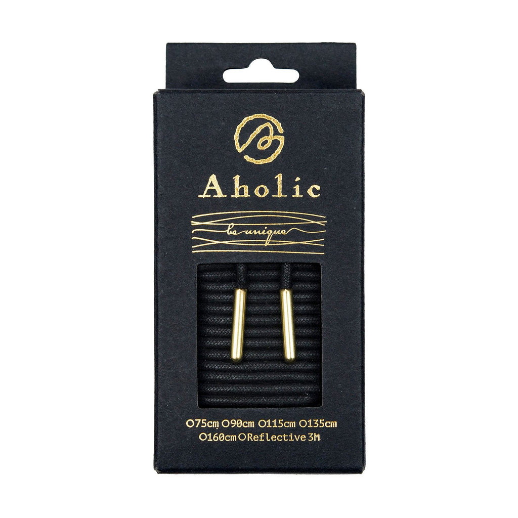 Aholic Waxed Shoelaces with Metal Tips (上蠟圓金屬頭鞋帶) - Black/Gold (黑/金)-Shoelaces-Navy Selected Shop