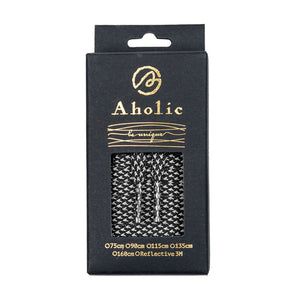 Aholic 3m Reflective Flat Shoelaces (3M反光扁鞋帶) - Black Chidori (黑千鳥)-Shoelaces-Navy Selected Shop