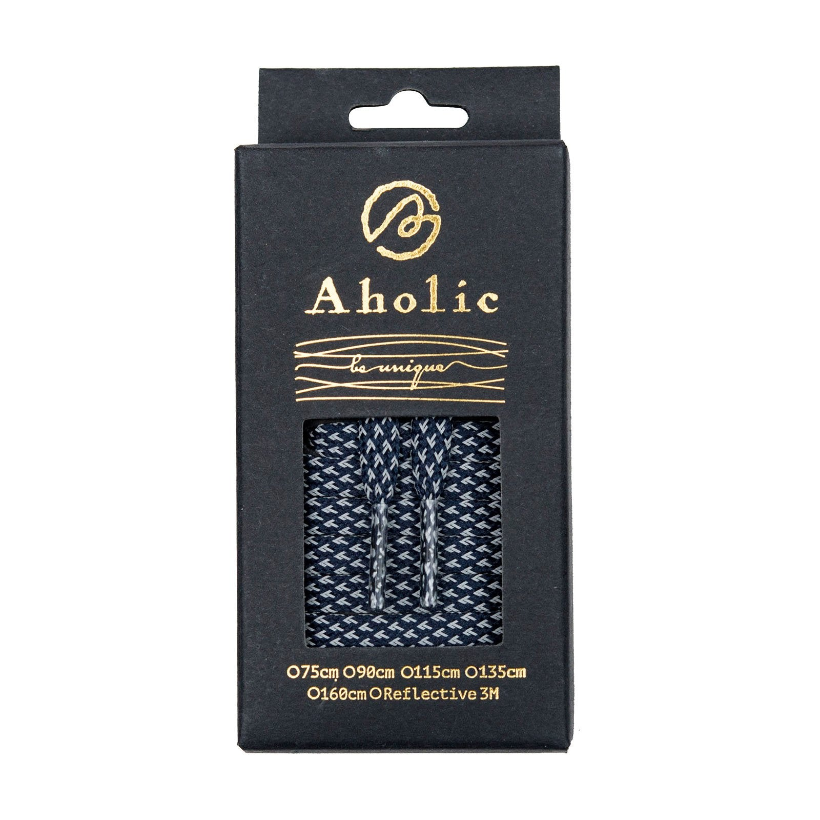 Aholic 3m Reflective Flat Shoelaces (3M反光扁鞋帶) - Navy Chidori (海軍藍千鳥)-Shoelaces-Navy Selected Shop