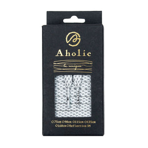 Aholic 3m Reflective Flat Shoelaces (3M反光扁鞋帶) - White Chidori (白千鳥)-Shoelaces-Navy Selected Shop