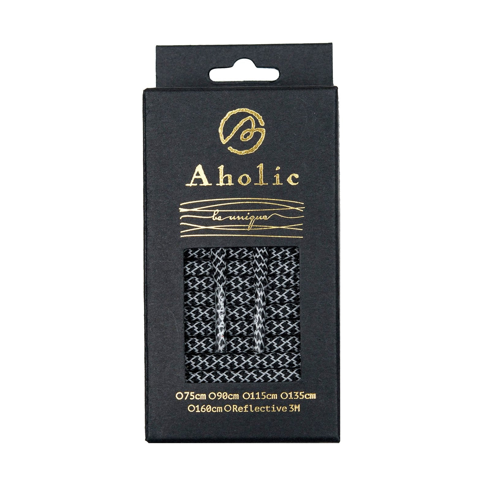 Aholic 3m Reflective Round Shoelaces (3M反光圓鞋帶) - Black Serpentine (黑蛇紋)-Shoelaces-Navy Selected Shop