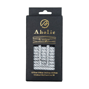 Aholic 3m Reflective Round Shoelaces (3M反光圓鞋帶) - White Serpentine (白蛇紋)-Shoelaces-Navy Selected Shop