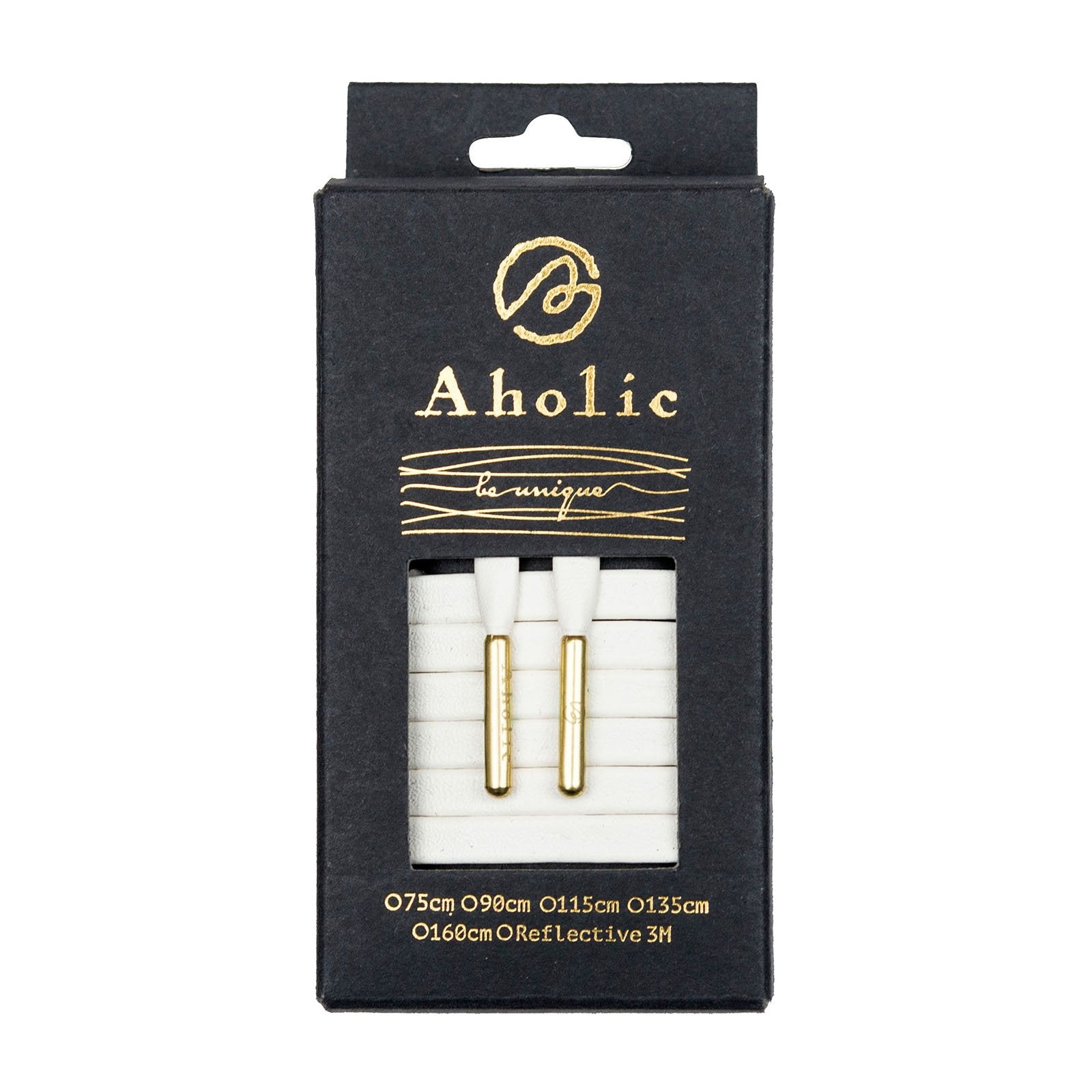 Aholic Venus Leather Shoelaces with Metal Tips (奢華皮革鞋帶) - Exquisite White/Gold (精緻白)-Shoelaces-Navy Selected Shop