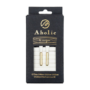 Aholic Venus Leather Shoelaces with Metal Tips (奢華皮革鞋帶) - White/Gold (精緻白)-Shoelaces-Navy Selected Shop
