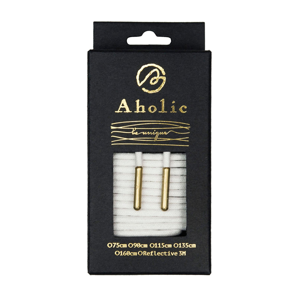 Aholic Waxed Shoelaces with Metal Tips (上蠟圓金屬頭鞋帶) - White/Gold (白/金)-Shoelaces-Navy Selected Shop