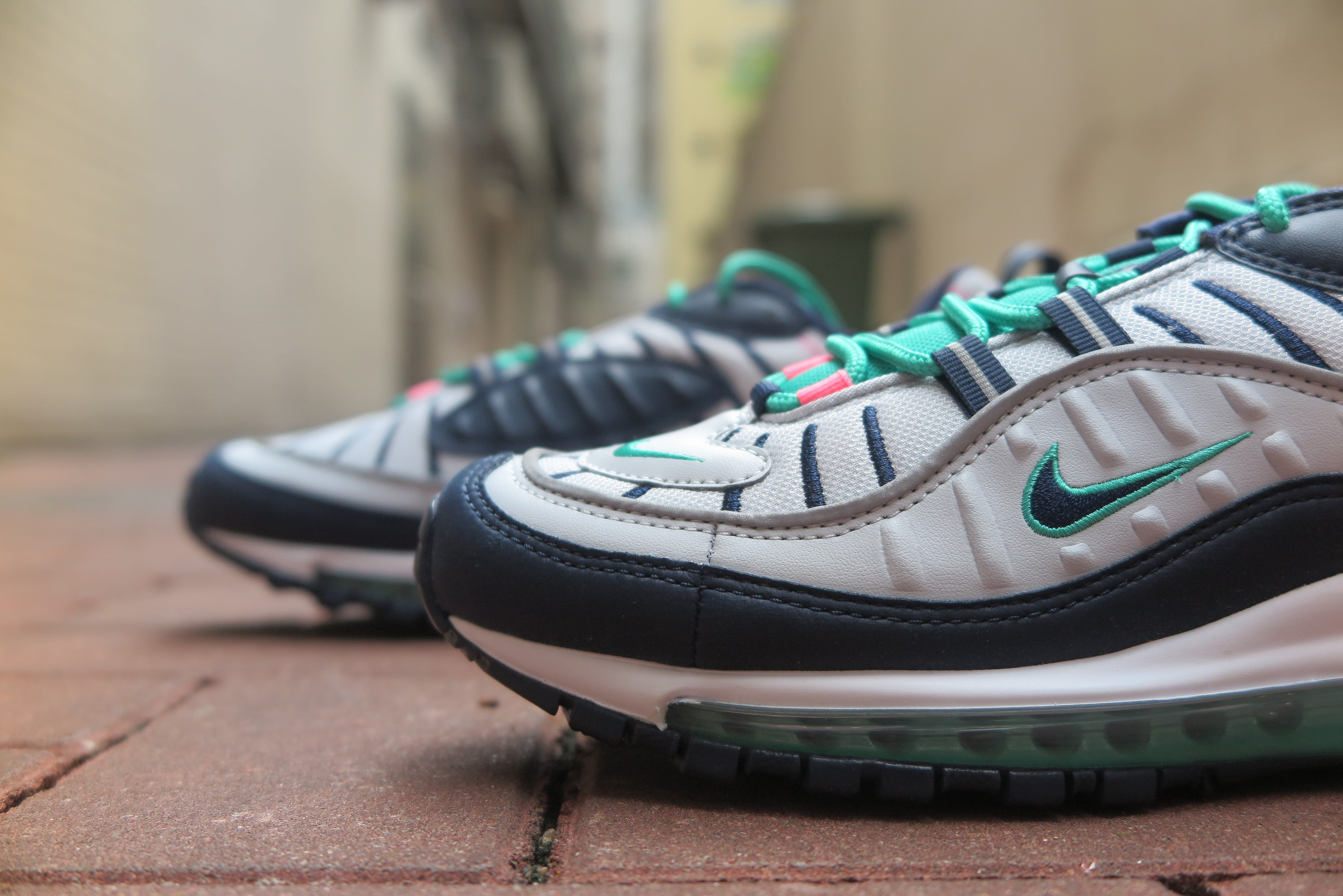 "Nike Air Max 98 ""South Beach"" - Pure Platinum/Obsidian/Kinetic Green #640744-005-Sneakers-Navy Selected Shop"
