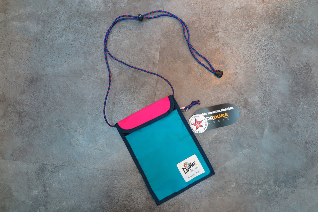 "Drifter Neck Pouch ""Made in USA"" - Aqua X Hot Pink #DF0240-Bag-Navy Selected Shop"