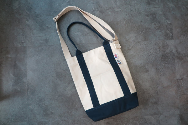 "Drifter Canvas Shoulder Tote ""Made in USA"" - Natural/Navy #DF3620-Bag-Navy Selected Shop"