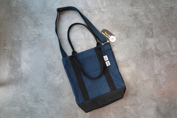 "Drifter Canvas Shoulder Tote ""Made in USA"" - Navy/Black #DF3620-Bag-Navy Selected Shop"