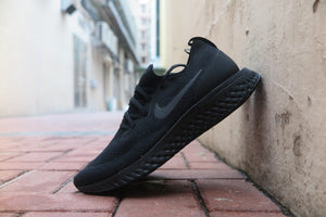 "Nike Epic React Flyknit ""Triple Black"" - Black/Black #AQ0067-003-Sneakers-Navy Selected Shop"