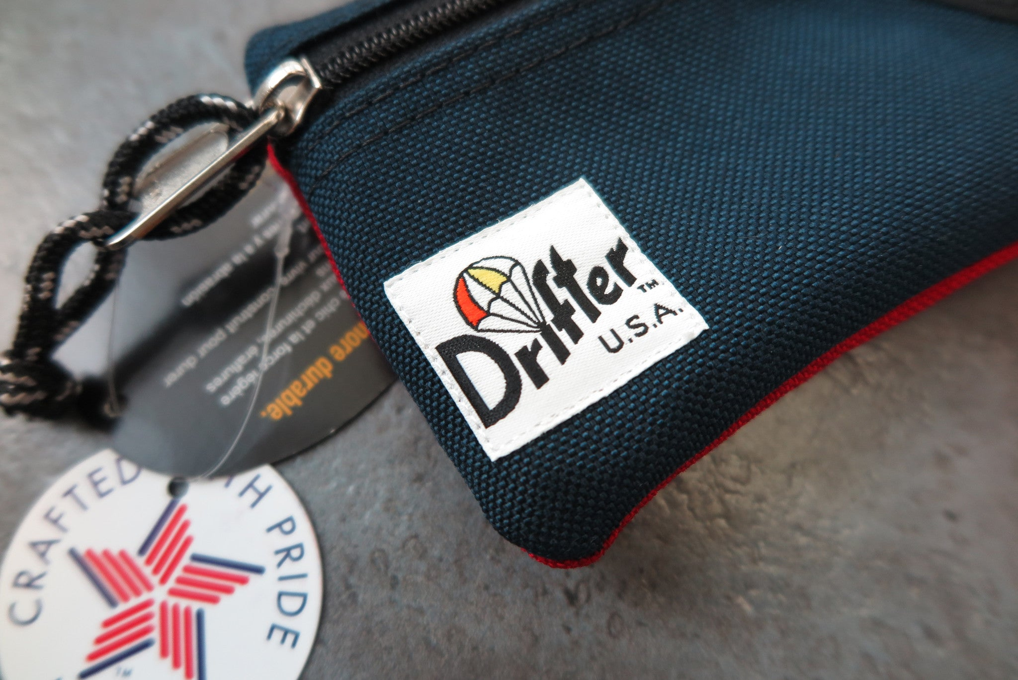 "Drifter Key Coin Pouch ""Made in USA"" - Navy/Red #DF0230-Bag-Navy Selected Shop"