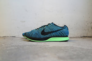 Nike Flyknit Racer in Blue Lagoon/Black #526628-401-Sneakers-Navy Selected Shop