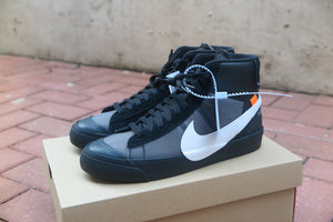 "Off White X Nike Blazer Mid ""The Ten"" ""Spooky Pack"" - Black/White/Cone/Black #AA3832-001-Sneakers-Navy Selected Shop"