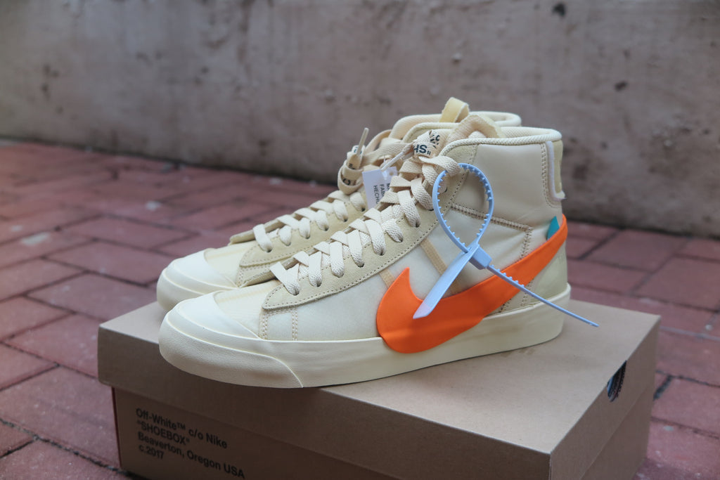 "Off White X Nike Blazer Mid ""The Ten"" ""Spooky Pack"" - Canvas/Total Orange #AA3832-700-Sneakers-Navy Selected Shop"