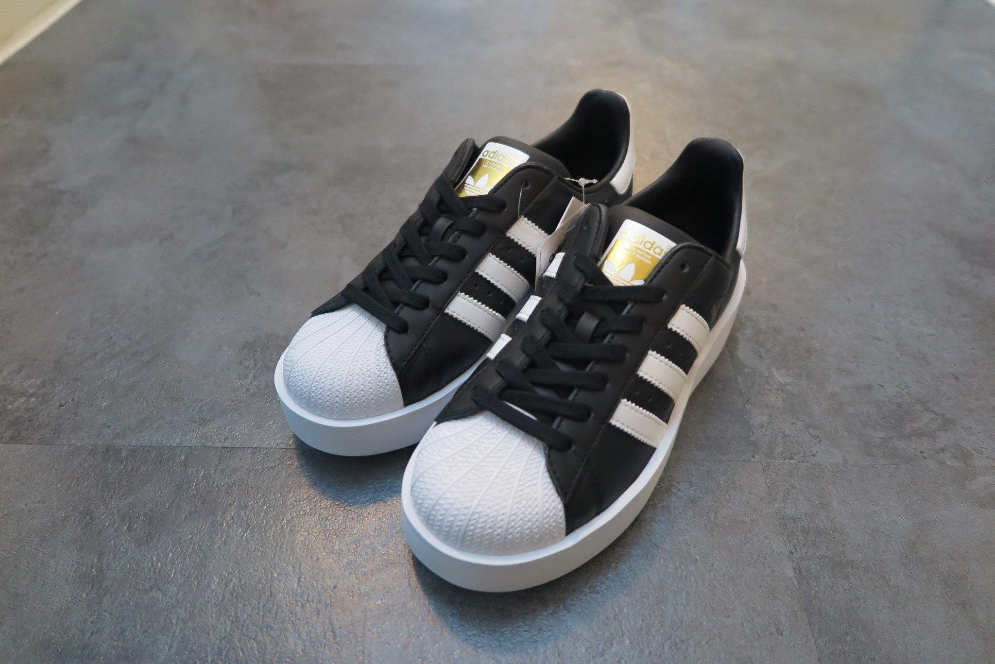 adidas WMNS Superstar Bold - Core Black/Running White/Gold Metallic #BA7667-Sneakers-Navy Selected Shop