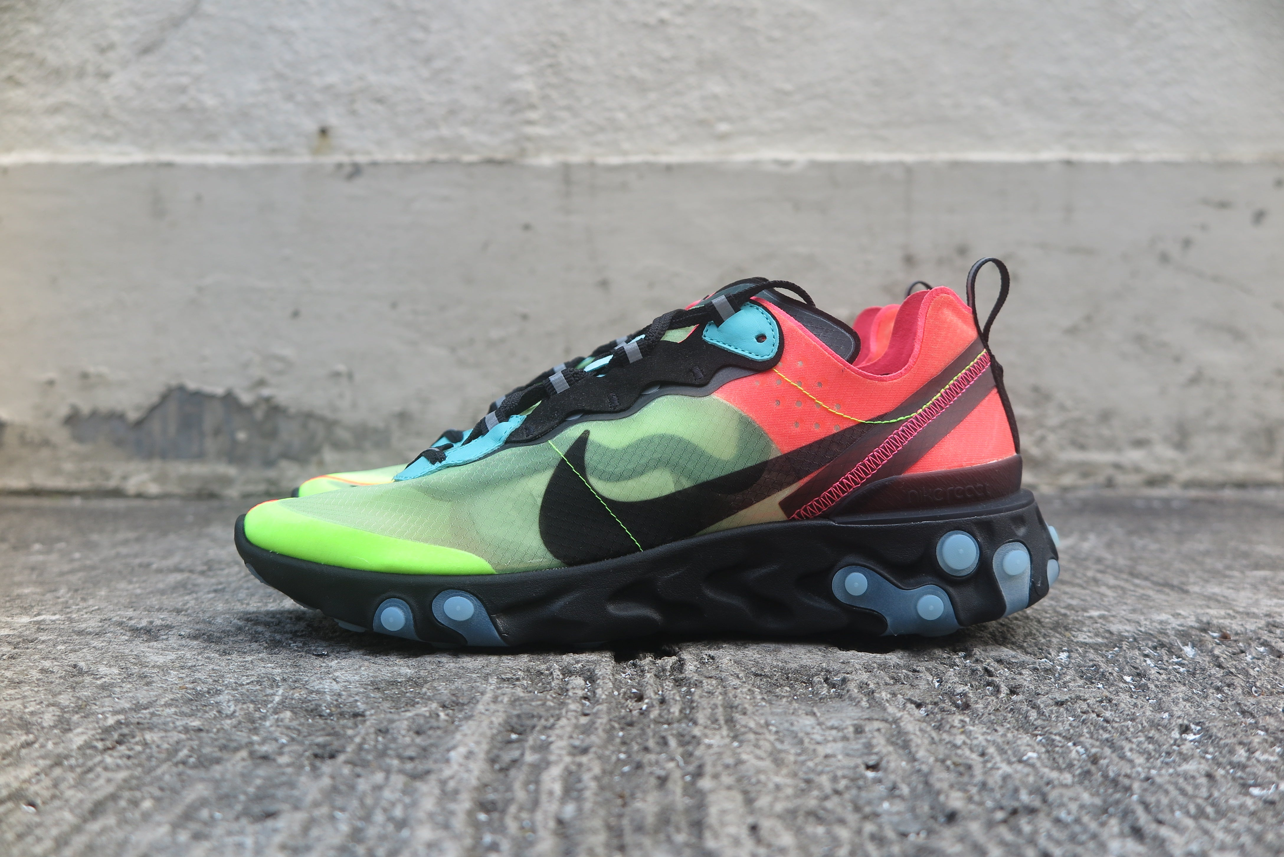 Nike React Element 87 - Volt/Aurora Green/Racer Pink/Black #AQ1090-700-Sneakers-Navy Selected Shop