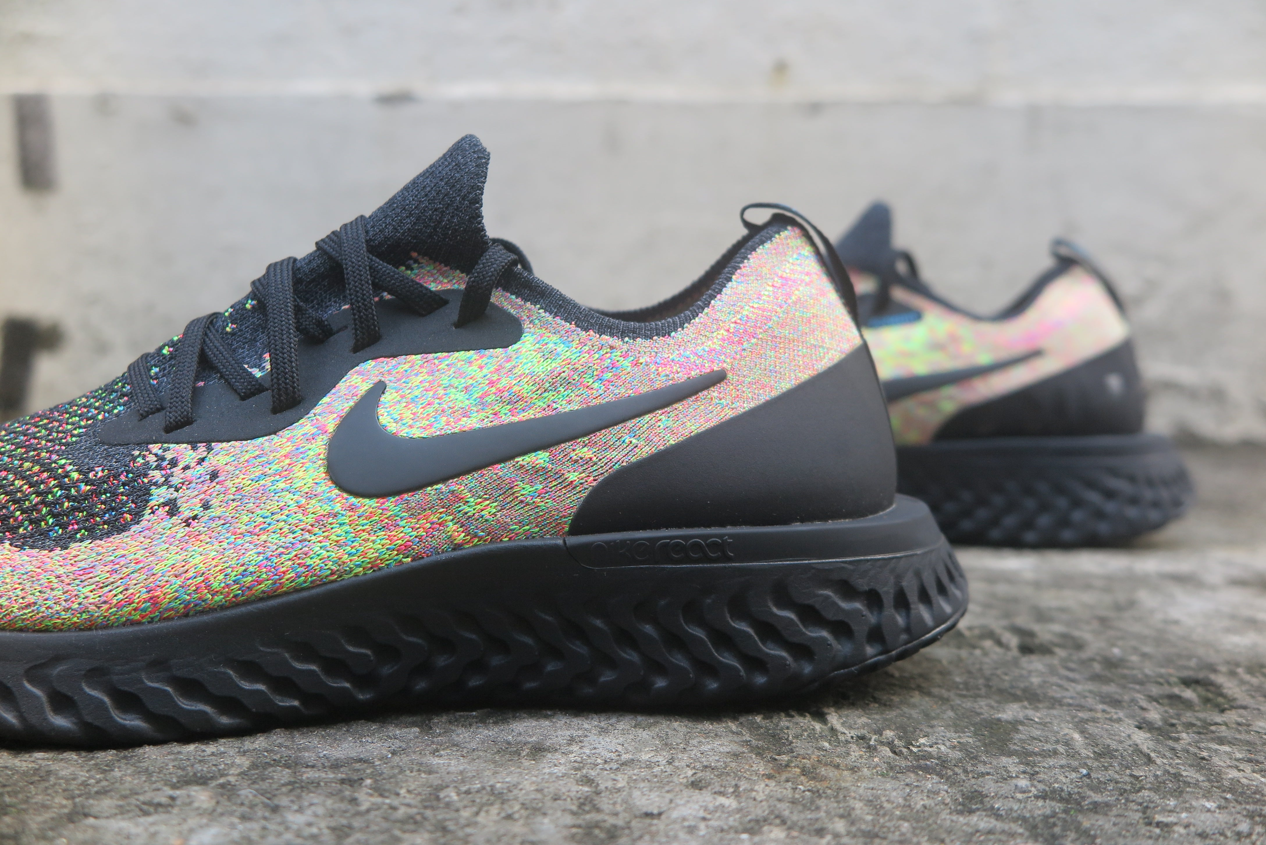 Nike Epic React Flyknit - Black/Volt/Blue Glow #AT6162-001-Preorder Item-Navy Selected Shop
