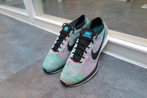 "Nike Flyknit Racer ""Rainbow 2.0"" - Green Strike/Black/Blue Lagoon/Pink Pow #526628-304-Sneakers-Navy Selected Shop"