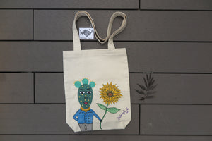 Belongs To J. Mr Cactus Tote Bag - Beige-Bag-Navy Selected Shop