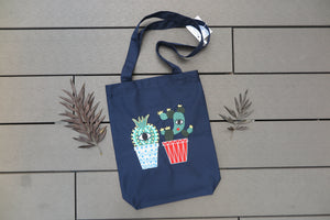 Belongs To J. 2 Cactus Tote Bag - Navy-Bag-Navy Selected Shop