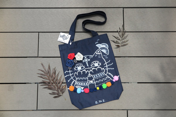 Belongs To J. Silly Cat Tote Bag - Navy-Bag-Navy Selected Shop