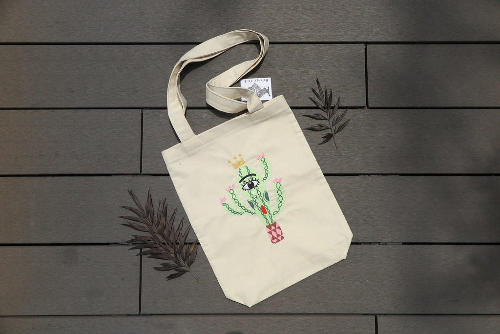 Belongs To J. King Cactus Tote Bag - Beige-Bag-Navy Selected Shop