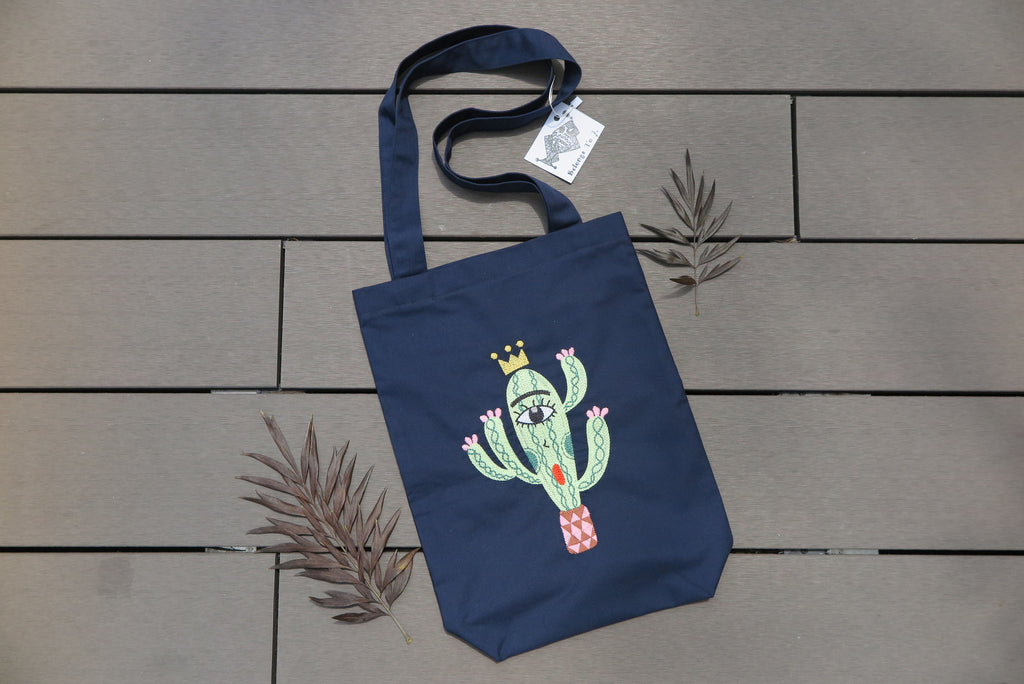 Belongs To J. King Cactus Tote Bag - Navy-Bag-Navy Selected Shop