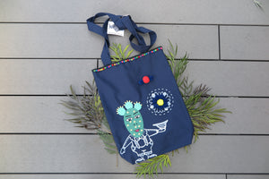 Belongs To J. Mr Cactus Tote Bag - Navy-Bag-Navy Selected Shop