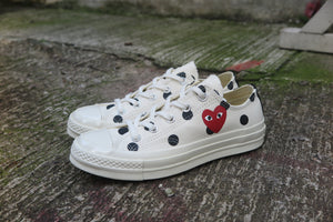 Play Comme des Garçons x Converse Polka Dot Red Heart Chuck Taylor All Star '70 Low - White #157249C-Preorder Item-Navy Selected Shop