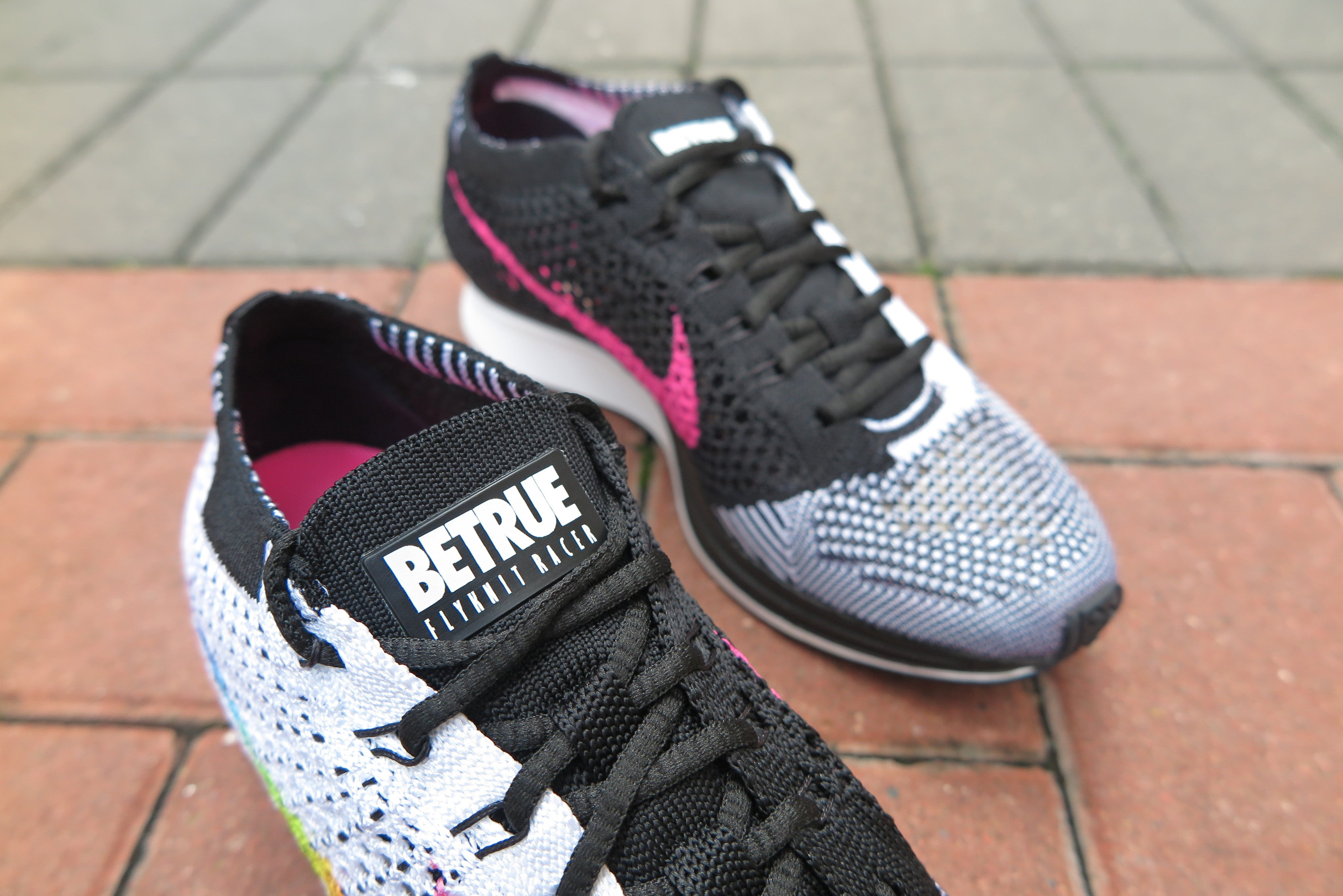 "Nike Flyknit Racer ""BeTrue"" - White/Multicolor/Black/Pink Blast #902366-100-Sneakers-Navy Selected Shop"