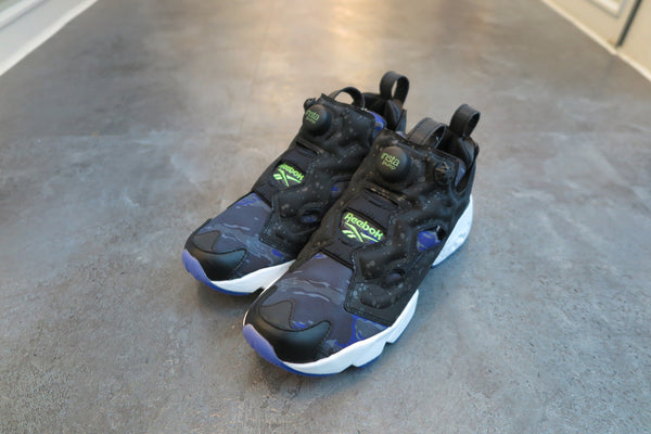 "atmos X Reebok Instapump Fury Affiliates in Black/White/Team Purple ""Glow in the Dark"" #AQ9240-Sneakers-Navy Selected Shop"