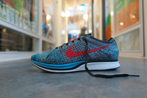 Nike Flyknit Racer - Neon Turquoise/Bright Crimson/Glacier #526628-404-Sneakers-Navy Selected Shop